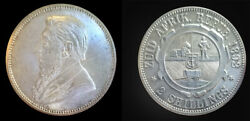South Africa 1892 2 Shilling, Rare Key Date Choice Luster Unc, Sharp Detail