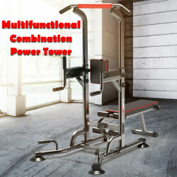 Power Tower Dip Station Pull Up Bar Strength Training With Dumbbell Bench