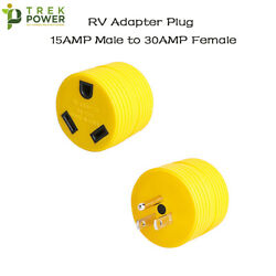 Rv Electrical Adapter Plug 15 Amp Male To 30 Amp Female Motorhome Camper Round