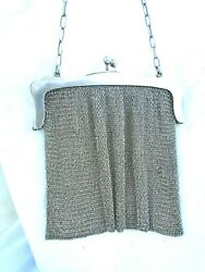 Antique S.b And Co Early 1800and039s Victorian 925 Sterling Mesh Clutch Purse 217 Grams