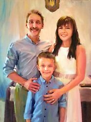 Commission Oil Family Portrait From Photo On Canvas, Custom Art, Birthday Gift