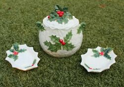 Vintage Lefton Christmas Cookie Jar White Holly Berry 6054 And 2 Leaf Tray/dishes