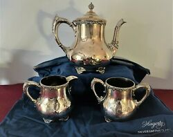 3 Piece Antique Victorian Tea Set By Mermod - Jaccard And Co In Quadruple Silver