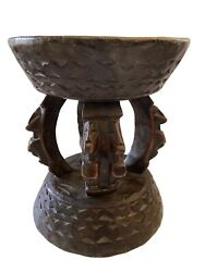 African Dogon Carved Wood Milk Stool W/ Horses Mali 11.25 H By 9.25 D