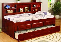 Kidand039s Twin Or Full Captainand039s Daybed With Bookcase Trundle And Storage Drawers