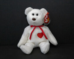 Retired Ty Beanie Baby Bear Valentino - 1993 Pvc, Sewing Defect, Many Tag Errors