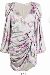 For Love And Lemons Gray Floral Ruched Mini Dress Victorian Sleeve Nwt Size S