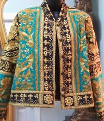 Vintage Anastasia Turquoise Black Gold Scroll Quilted Lady Women Coat Jacket