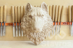 Set Of 10 Wolf Head Hand Carved Wood Wood Carving Mask Wolf Decorative Animal