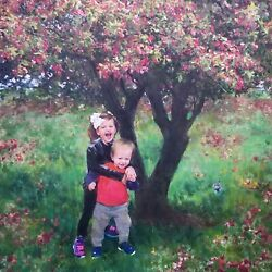 Custom Children Portrait From Photo On Canvas, Mother's Gift, Art Commission