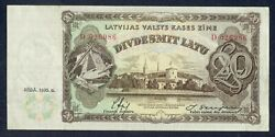 Original Money Old Banknote Paper Money Of Latvia 20 Lats 1935 Year - D026986