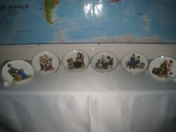 Norman Rockwell Series Lot Of 6 Vintage Plates Japan 1984