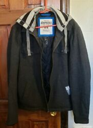 Aeropostale Menand039s Dark Gray Wool Blend Jacket With Removable Hood Size M/m