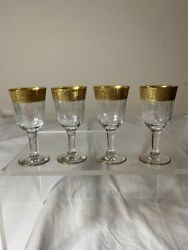 Collectible Elegant Gold Band Flamingo Flower Planter Etched Shot Glass 4pc