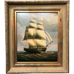 19th C Style Marine Tall Ship Portrait Painting Signed D. Tayler