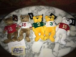 Signed Joe Montana Collectcritters Limited Bears 49ers Plus 4 Other Bears Beanie