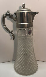 """Vintage Diamond Cut Glass Carafe Silver Plate Handle And Top Made In Italy 14 1/2"""""""