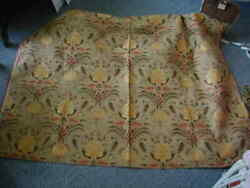 2 yards vintage upholstery fabric tapestry weave tan gold red classical pattern