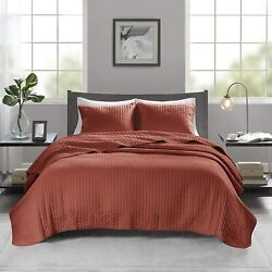 Madison Park Keaton 3 Piece Coverlet Brushed Microfiber Double Sided Channel Coz