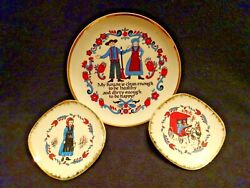Vintage Japan Set Of 3 Brinns Amish Style Ceramic Wall Decor Plates 1@8 And 2@5