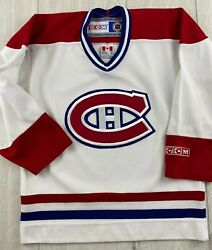 Montreal Canadiens Nhl Hockey White Ccm Jersey Youth Small Read Made In Canada