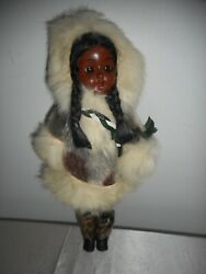 Antique Eskimo Inuit 11 Doll With Rabbit Fur Trim On Clothing - Great Find