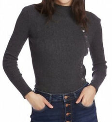Nwt Court And Rowe Button Detail Ribbed Sweater Long Sleeve Grey Size Xs