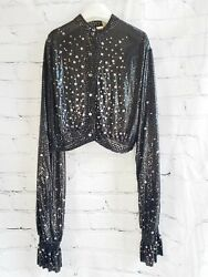New w Tags Paco Rabanne Black Chainmail Embellished LS Crop Top BBJ376X082 $199.97