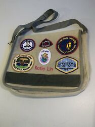 Canvas Messenger School Book Bag Military Green w Sewn On Patches $6.99