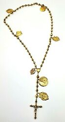 Beautiful Cross Gold Necklace Rare 18k Yellow Chain Our Lady Of Fátima 16' Inch