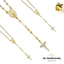 14k Tricolor Gold 4mm Beads Our Lady Of Guadalupe Rosary Necklace Rosario 26