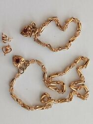 9kt Gold Garnet Matching Necklace, Bracelet And Earrings Jewelry Set 42grams