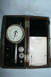 Vintage Schaeffer And Budenberg Ny Hand Tachometer 12a In Wood Box W/ Tips And Instr