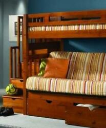 Ryan Honey Bunk Bed With Futon Stairs And Storage