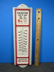 Vintage 12 Inch Metal Thermometer Brighton Feed White And Red