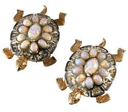 Boucher Turtles Pair Brooches Pins Clips Faux Opals Rhinestones Vtg Set
