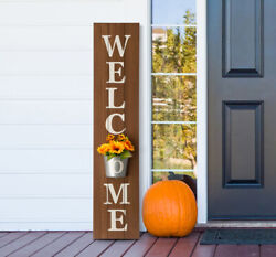 Glitzhome 42'' Wooden Welcome Porch Sign With Metal Planter Farmhouse Fall Decor