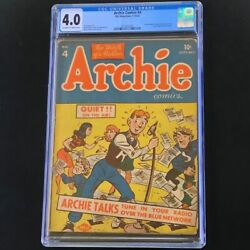 Archie Comics 4 Mlj 1943 💥 Cgc 4.0 Ow-w 💥 Only 38 In Census Golden Age