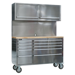 Sealey Mobile Stainless Steel Tool Cabinet 10 Drawer With Backboard And 2 Wall ...
