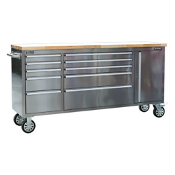 Sealey Mobile Stainless Steel Tool Cabinet 10 Drawer And Cupboard Garage Worksh...