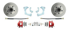59-64 Full Size Chevy Complete Disc Brake Kit W/ Powder Coated Red Calipers