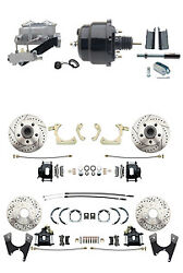 55-58 Gm Full Size Front And Rear Performance Disc Brake Kit Black Calipers