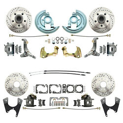 62-67 Chevrolet Nova Front And Rear Brake Kit Drilled And Slotted Rotors