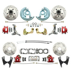 62-67 Chevrolet Nova Front And Rear Disc Brake Kitkit And Red Calipers