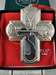 1995 Towle Sterling Christmas Cross Ornament 2nd In Series New Mint W/bagbox
