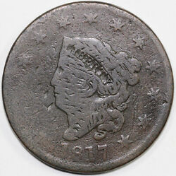 1817 1c N-17 Terminal Die State Coronet Or Matron Head Large Cent W/ Tag