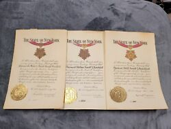 Set Of Ww2 New York Long Service Medal Documents Naval Militia 10 Years-20 Years