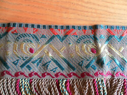 VINTAGE FABULOUS TAPESTRY VALANCE WITH FRINGE 114quot; LONG TEXTILE