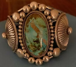 Signed Navajo Sterling Silver Royston Turquoise Cuff Bracelet