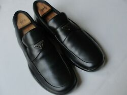 Prada Men#x27;s Black Leather Slip on Soft Leather Sport Loafers Sneakers Size 9.5 M $169.00